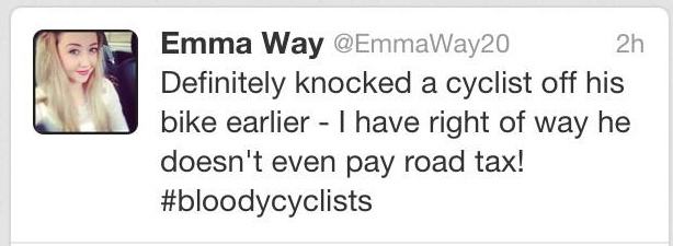 knocked a cyclist off his bike. I have right of way, he doesn't ...
